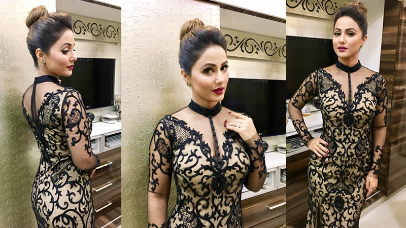 Actress Hina Khan Wearing Stunning Tattoo trellis Gown by Karleo Fashion for SBS Telebrations Party