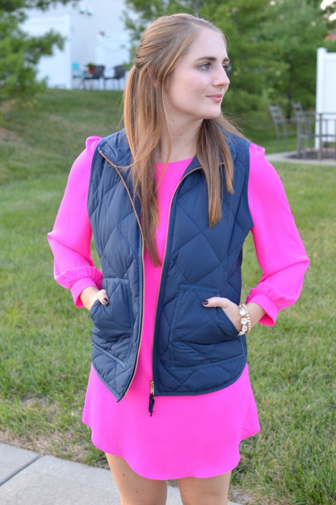 ways to wear a navy puffer vest